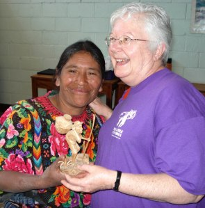 Sister Jan Gregorcich with a Carving